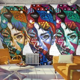 Fototapeta - Kolorowe twarze (300x210 cm)