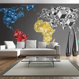 Fototapeta - Map of the World - colorful solids (550x270 cm)