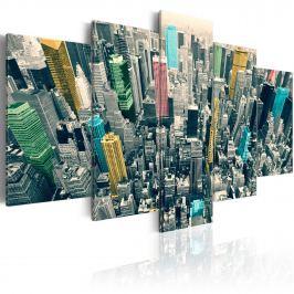 Obraz - Szarość dnia ożywiona - NY (100x50 cm)