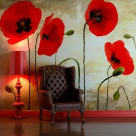 Fototapeta - Malowane maki (200x154 cm)