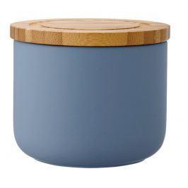 Ceramiczny pojemnik z bambusowym wieczkiem 9cm Stak Soft Matt Ladelle niebieski