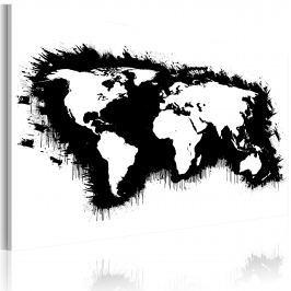 Obraz - Monochromatyczna mapa świata (60x40 cm)