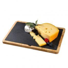 talerz do serwowania sera z dębową podkładką, łupek, 33 x 23 cm