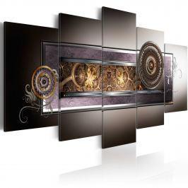 Obraz - Złote meandry w szarościach (100x50 cm)