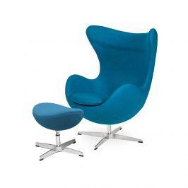 Fotel z podnóżkiem 83x107x72cm King Home Egg ciemny turkus