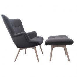 Fotel z podnóżkiem 72x80x95cm King Home Contour szary