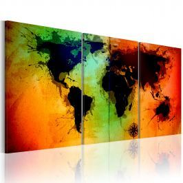 Obraz - Mapa świata - kolorowe oceany (60x30 cm)