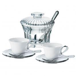 Zestaw dwóch filiżanek espresso z cukiernicą  Guzzini Belle Epoque transparentny