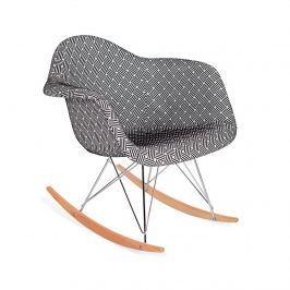 Fotel bujany 63x60x69cm King Home Plush RAR splot czarno-biały