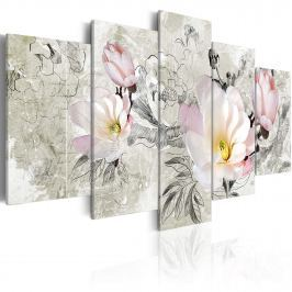 Obraz - magnolia - styl retro (100x50 cm)