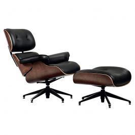 Fotel z podnóżkiem 83x84x84cm King Home Lounge czarny-orzech