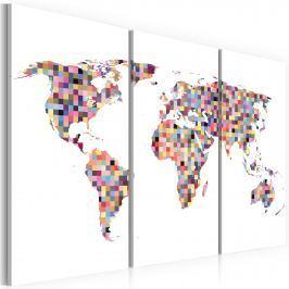 Obraz - Mapa świata - piksele - tryptyk (60x40 cm)