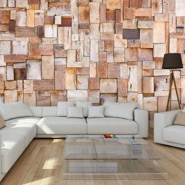 Fototapeta - Modrzewiowa mozaika (300x210 cm)