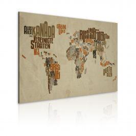 Obraz - Mapa świata (Język niemiecki) (60x40 cm)