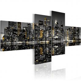 Obraz - Złocisty blask wieżowców (100x45 cm)
