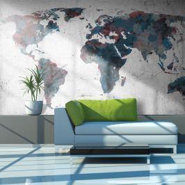 Fototapeta - World map on the wall (450x270 cm)