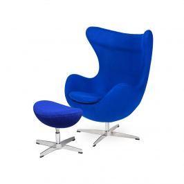 Fotel z podnóżkiem 83x107x72cm King Home Egg atramentowy niebieski