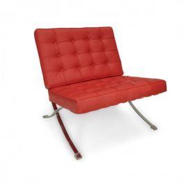 Fotel 77x77x75cm Quadre Barcelo czerwona skóra