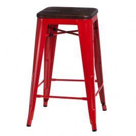 Krzesło barowe Paris Wood D2 75cm czerwone-sosna szczotkowana
