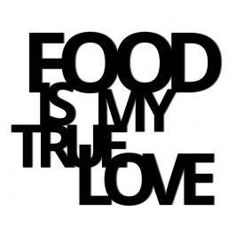 Napis 3D na ścianę dekoracyjny DekoSign FOOD IS MY TRUE LOVE czarny