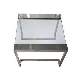OUTLET Stolik szklany COFF 51x51x40,5cm - szkło, stal