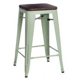 Krzesło barowe Paris Wood 65cm D2 zielony-sosna orzech