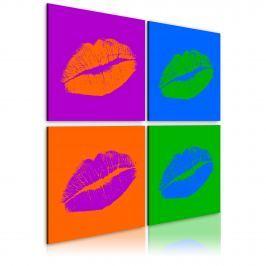 Obraz - Pocałunki: Pop art (40x40 cm)