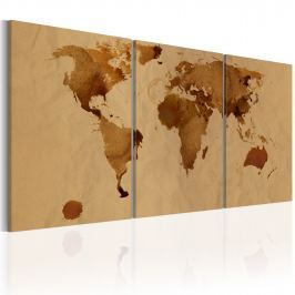 Obraz - Mapa świata w kolorze kawy (60x30 cm)