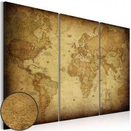 Obraz - Stara mapa: tryptyk (60x40 cm)