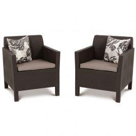Fotele ogrodowe Orlando Duo Allibert 75x65cm brąz/taupe