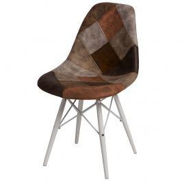 Krzesło P016W Patchwork D2 brąz-beż/białe