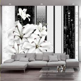 Fototapeta - Płaczące lilie w bieli (300x210 cm)