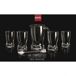 NOVIS - Zestaw 4 szklanek + dzbanek z mieszadełkiem
