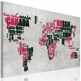 Obraz - Mapa świata (Język francuski) (60x40 cm)