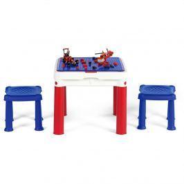 Stolik kreatywny do klocków 51x51x46cm Bazkar biało-czerwony