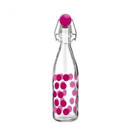 Butelka szklana 1l Zak! Design Dot różowa