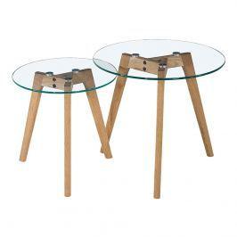 Stoliki kawowe śr. 45+40cm King Home Slow Duo szkło/dąb