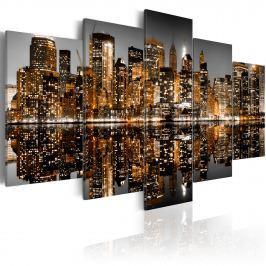 Obraz - Złociste wrażenia z Manhattanu (100x50 cm)