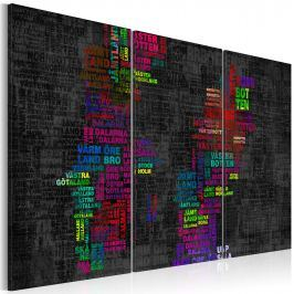 Obraz - Mapa Szwecji (nazwy miast w kolorach) - tryptyk (60x40 cm)