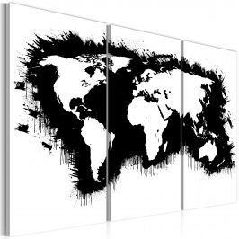 Obraz - Monochromatyczna mapa świata - tryptyk (60x40 cm)