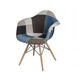 Krzesło D2 P018W patch work niebiesko-szary podstawa drewniana