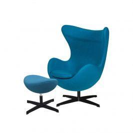 Fotel z podnóżkiem 83x107x72cm King Home Egg ciemny turkus/czarny