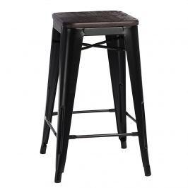 Krzesło barowe Paris Wood D2 75cm czarne-sosna szczotkowana