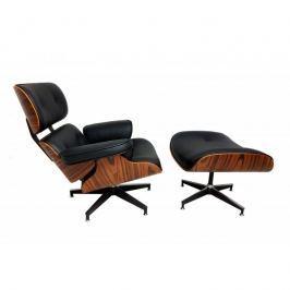 Fotel 91x89x85cm Quadre Vip palisander/czarna skóra
