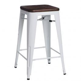 Krzesło barowe Paris Wood D2 75cm białe-sosna szczotkowana