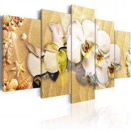 Obraz - Plaża i orchidea (100x50 cm)