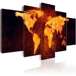 Obraz - Mapa świata - Gorąca lawa (100x50 cm)