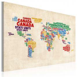 Obraz - Włoskie nazwy państw w żywych kolorach (60x40 cm)