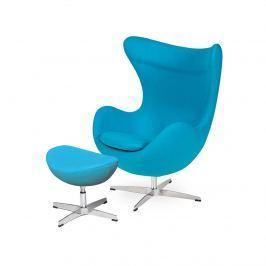 Fotel z podnóżkiem 83x107x72cm King Home Egg jasny turkus
