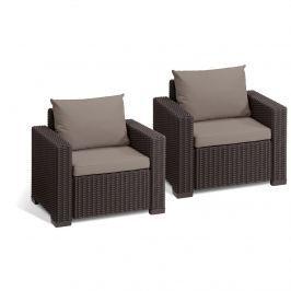 Fotele ogrodowe California Duo Allibert 83x72cm brąz/taupe